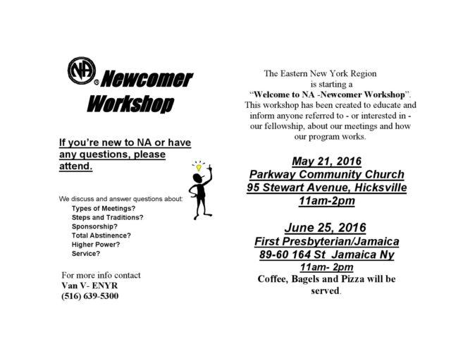Newcomer Workshop Flyer- ENYR 5-21-16 and 6-25-16