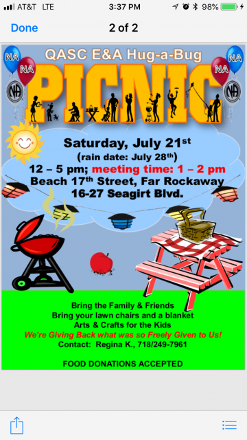 QASC E&A HUG-A-BUG PICNIC @ Far Rockaway Park, Beach 17th Street