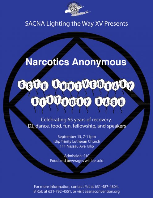 SACNA 15 Presents Narcotics Anonymous 65th Anniversary Bash @ Trinity Lutheran Church