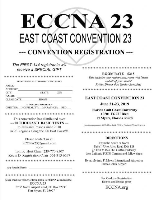 East Coast Convention of NA @ Florida Gulf Coast University